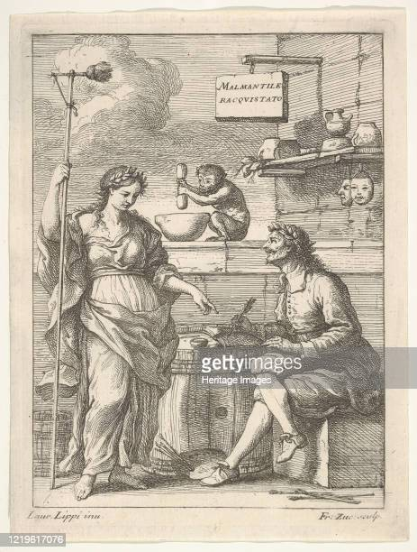 Monkey working a mortar and pestle, below Lorenzo Lippi writing his humorous poem 'Malmantile Racquistato', a muse standing at left, circa 1710-64....