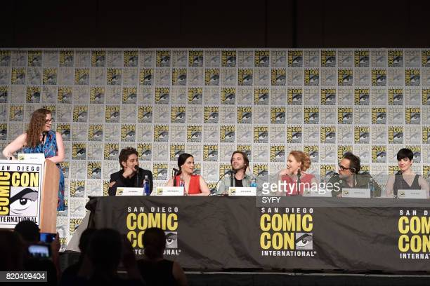 DIEGO '12 Monkeys Panel' Pictured Alicia Lutes Terry Matalas Emily Hampshire Aaron Stanford Amanda Schull Todd Stashwick and Alisen Down