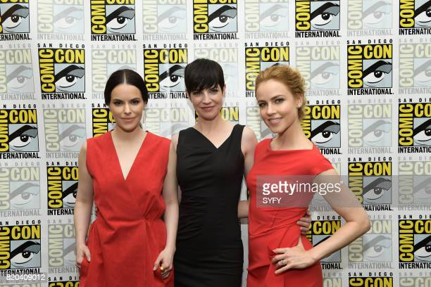 DIEGO '12 Monkeys Press Room' Pictured Emily Hampshire Alisen Down and Amanda Schull
