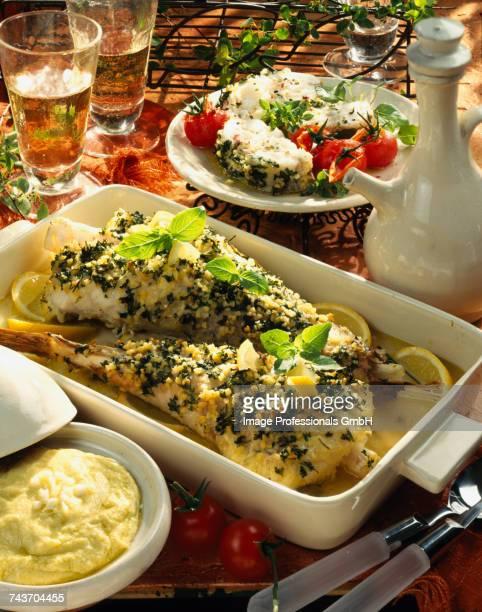 monkfish gigotin in herb crust with aioli sauce