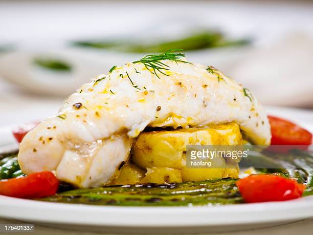 monkfish tail and grilled beans