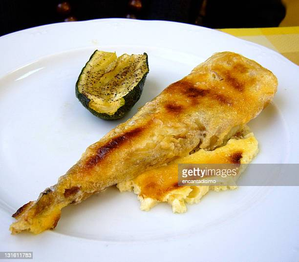 monkfish with garlic mousseline. - marrow squash stock pictures, royalty-free photos & images