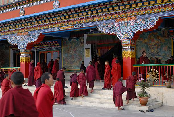 Monks And Novices Gather For Evening Prayers At The Druk Pictures