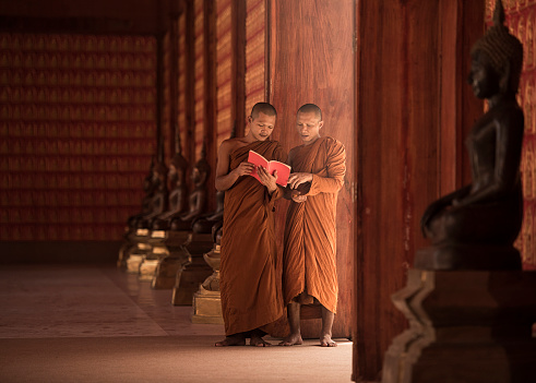 Monks are reading books. - gettyimageskorea