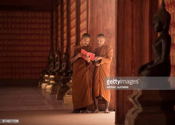 monks are reading books. - boeddhisme stockfoto's en -beelden