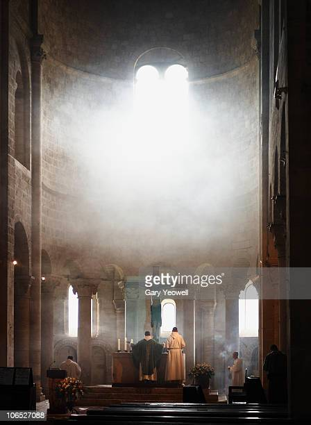 monks at prayer in abbey of san't antimo - yeowell stock pictures, royalty-free photos & images