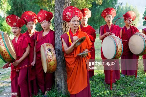 Monks carrying out Buddhist ceremony. Punakha Dzong . Punakha. Bhutan.