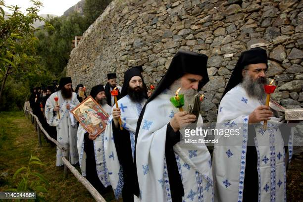 Monks carrying the Holy remains during the Easter Monday Litany in Osiou Gregoriou monastery April 29 2019 in Moint Athos Greece Thousands of Ortodox...