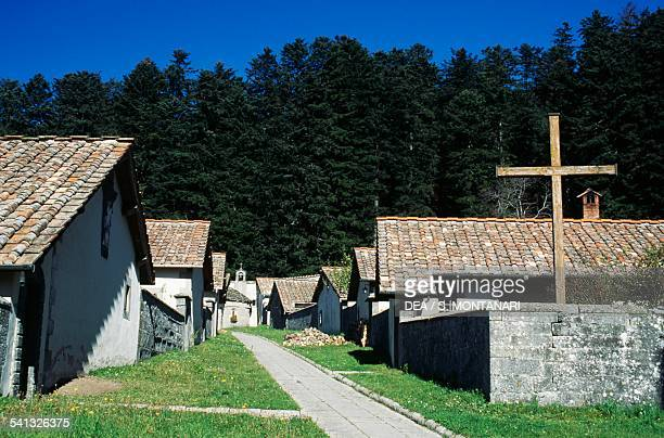 Monks' cells among the firs Camaldoli Hermitage National Park of the Casentino Forests Mount Falterona Campigna Tuscany Italy