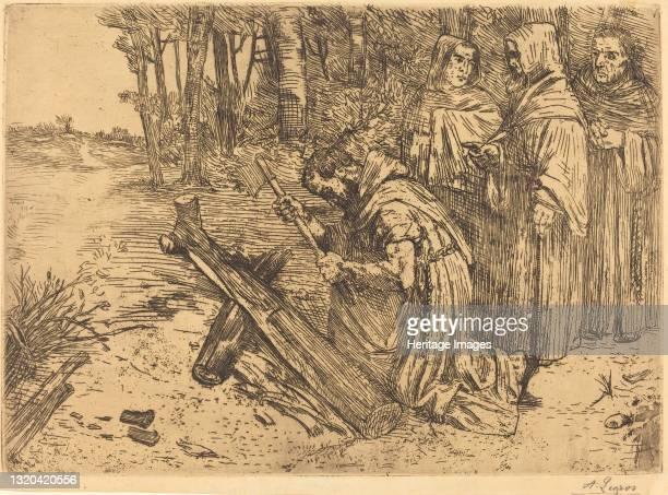 Monks Chopping Wood . Artist Alphonse Legros.