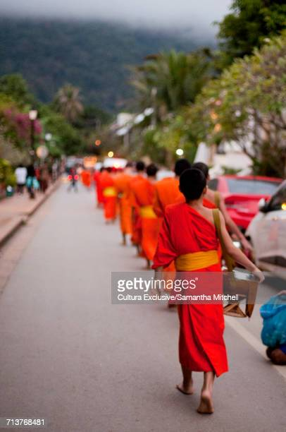 Monks collecting alms from citizens, Luang Prabang, Laos