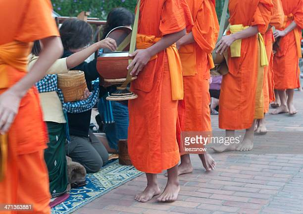 Monks Collecting Alms in Luang Prabang, Laos