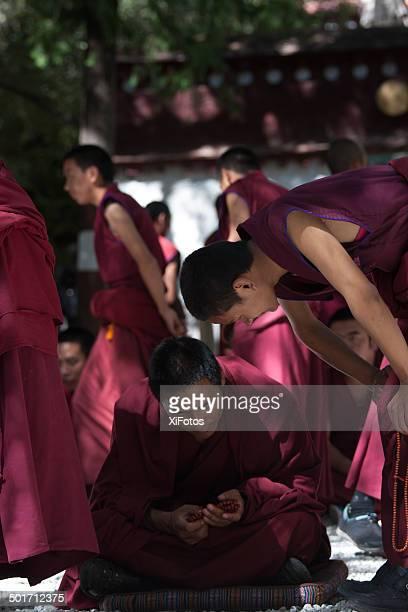 Monks Debating in Sera Monastry, Lhasa, Tibet.