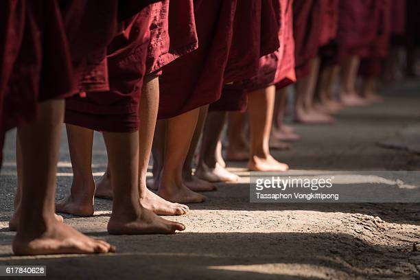 monks feet standing in row