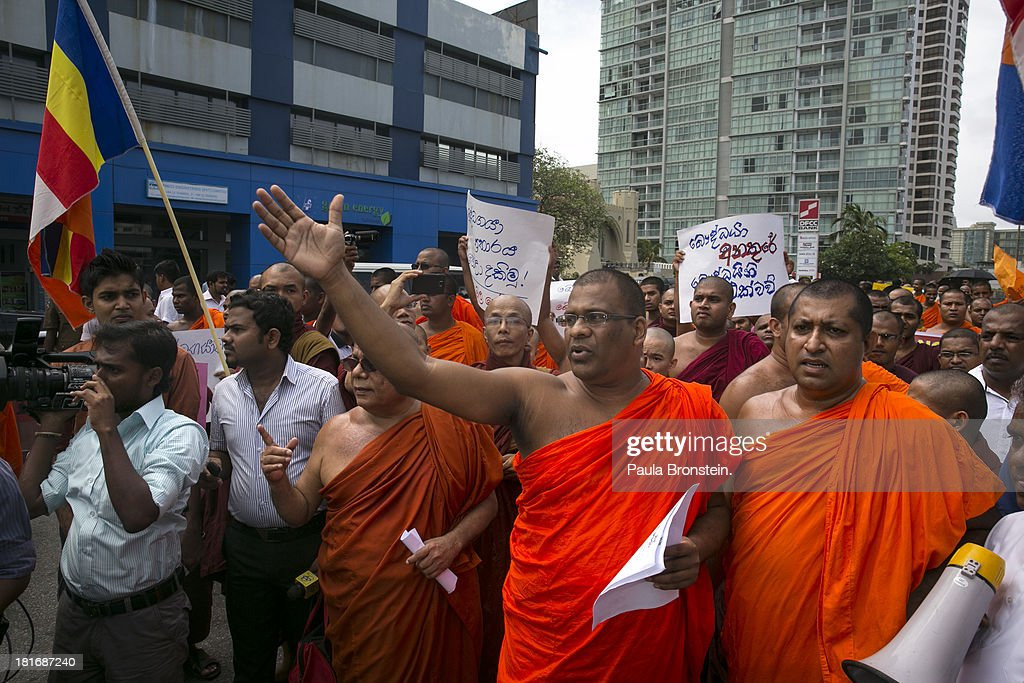 Monks from the Bodu Bala Sena protest outside the Indian High Commission to protest an attack on the Buddagaya temple in India in Colombo,Sri Lanka, July 11, 2013. War's end has unleashed Sinhalese nationalism that has Tamils fearful of ethnic cleansing. They number around 15 per cent of the 21 million population. Sri Lanka's main Tamil party has won the first elections in the island's north after decades of ethnic war. After votes were counted, results show that the Tamil National Alliance (TNA) won 30 seats out of the 38 member council following Northern Provincial Council elections with President Mahinda Rajapaksa's coalition winning seven of the other seats.