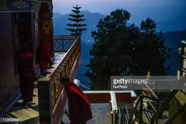 Monks gather for morning puja in the Thrangu Tashi Yangtse Monastery Kavrepalanchok District Bagmati Zone Nepal in February 2019 Thrangu Tashi...