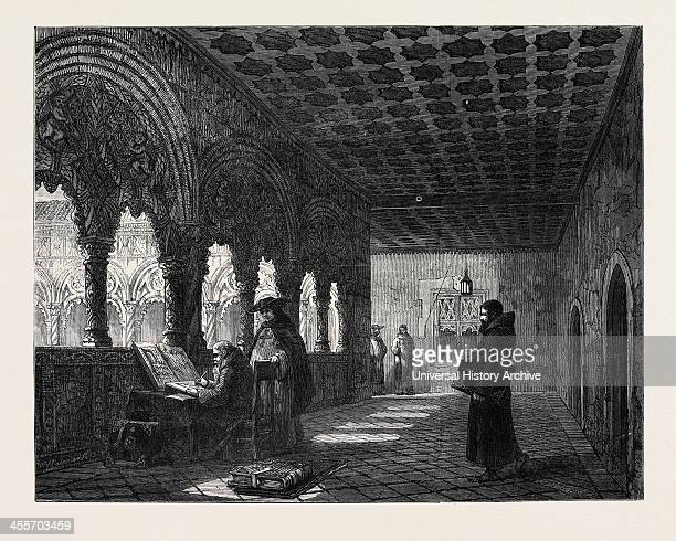 Monks Illuminating In A Convent At Valladolid Spain' By TR Macquoid In The General Exhibition Of Water Colour Drawings 1869
