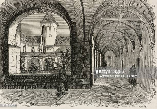 Monks in the cloister of Solesmes Abbey, France, illustration from the magazine L'Illustrazione Universale, year 2, nos 23-24, March 7, 1875.