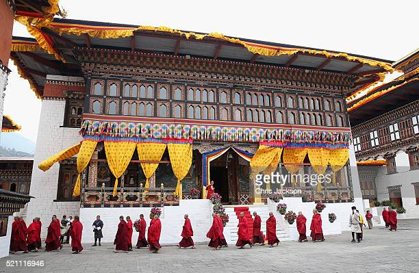 Monks in the Tashichhodzong on the first day of a two day visit to Bhutan on the 14th April 2016 in Paro, Bhutan. The Royal couple are visiting...