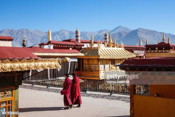 Monks inside Jokang temple, Lhasa, Tibet