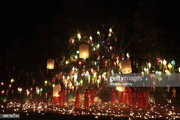 Monks of Pantao temple release the Khom Loi during the opening ceremony of Yi peng festival at the Pantao temple in Chiengmai Thailand on November 25...