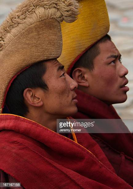 Monks of the Gelugpa sect Labrang Monastery during Tibetan New Year celebrations Gansu Province China Labrang Monastery is one of six monasteries of...