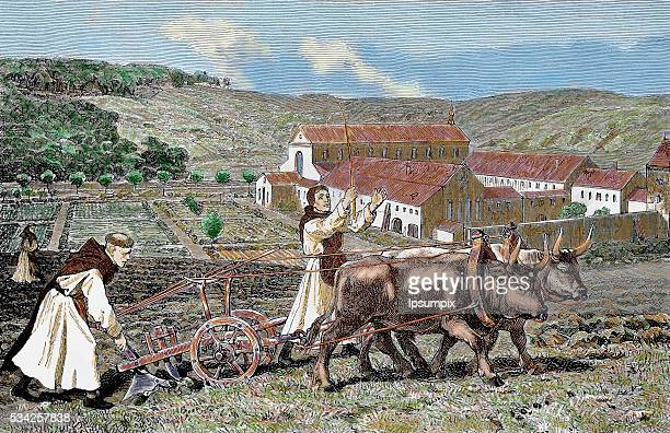 Monks ploughing the land with oxen Germany 1872 Colored engraving