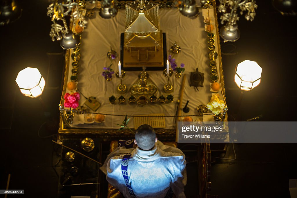 Monks pray on a lucky talisman twice daily in the weeks leading up to the Hadaka Matsuri, or Naked Festival at Saidaiji Temple on February 19, 2015 in Okayama, Japan. On February 21, 2015, some 9,000 men hustle to grab a pair of lucky sticks thrown by priests in this annual festival, one of the most vibrant in Japan.