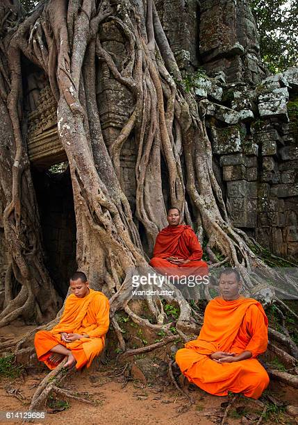 Monks praying for peace