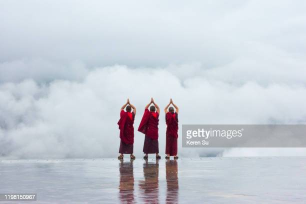 monks praying towards mountain shrouded in mist at great buddha dordenma, thimphu, bhutan - thimphu stock pictures, royalty-free photos & images