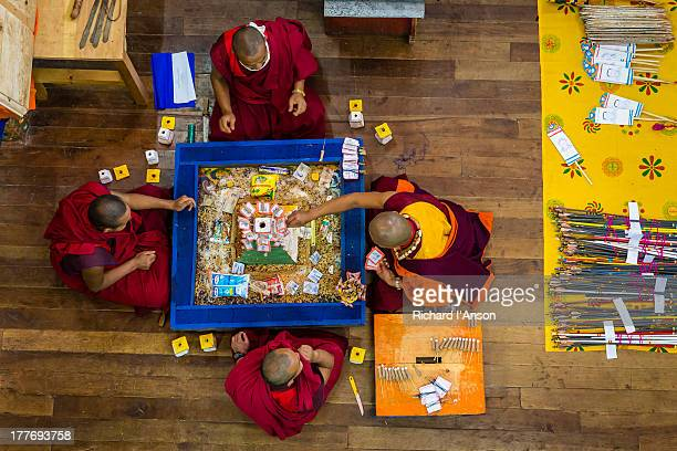 monks preparing for ceremony at punakha dzong - プナカ ストックフォトと画像