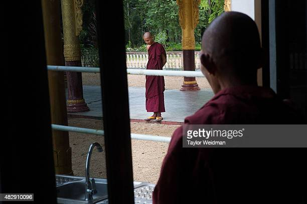 Monks relax in a monstery near the planned Dawei SEZ on August 3 2015 in Pantininn Myanmar The controversial multibillion dollar Dawei special...