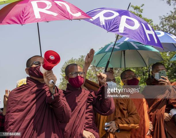 Monks take part in an anti-coup protest in Yangon, Myanmar on March 11, 2021.