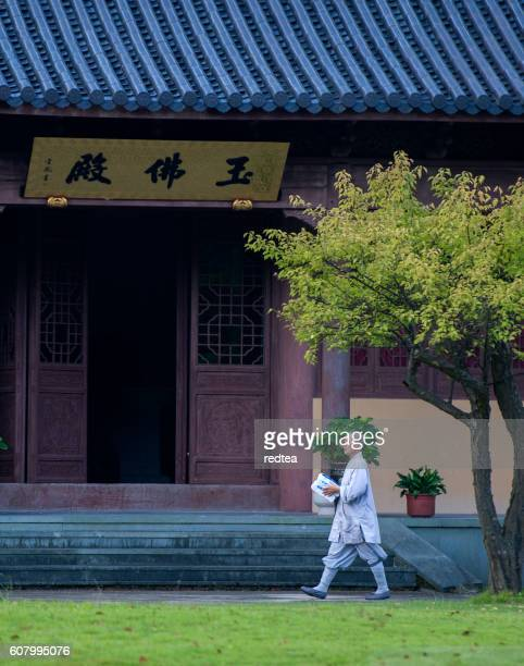monks working in temples - ningbo stock pictures, royalty-free photos & images