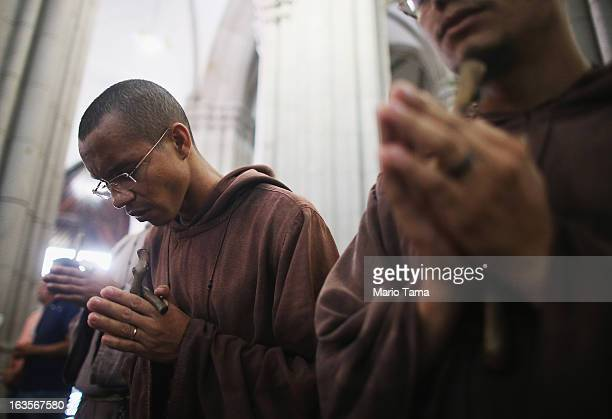 Monks worship during Mass at the Se Cathedral the cathedral of the Roman Catholic Archbishop of Sao Paulo Cardinal Odilo Pedro Scherer on March 12...