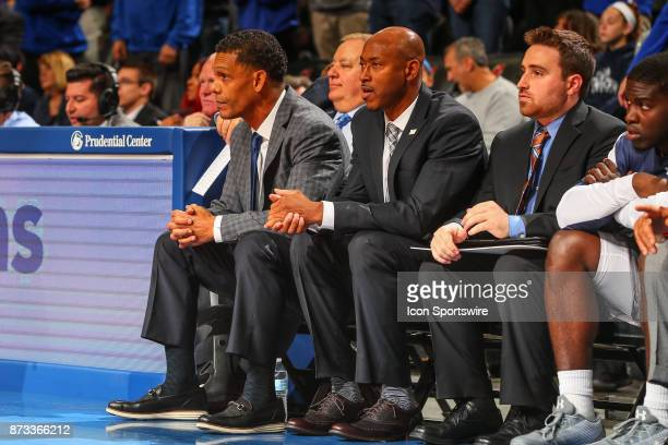 Monmouth Hawks head coach King Rice during the College Basketball game between the Seton Hall Pirates and the Monmouth Hawks on November 12 2017 at...