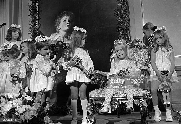 Monmouthshire Wales 25th July 1973 Natalie Clarke aged 5 sits on her throne after being crowned Miss Pears 1973 in Cwmbran