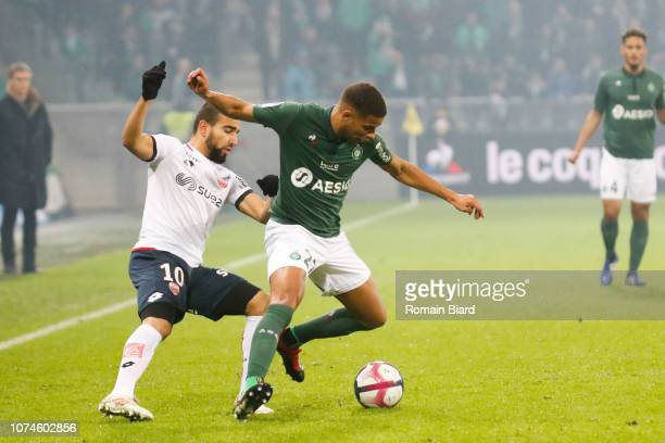 Monnet Paquet Kevin of Saint Etienne and Sliti Naim of Dijon during the Ligue 1 match between Saint Etienne and Dijon at Stade GeoffroyGuichard on...