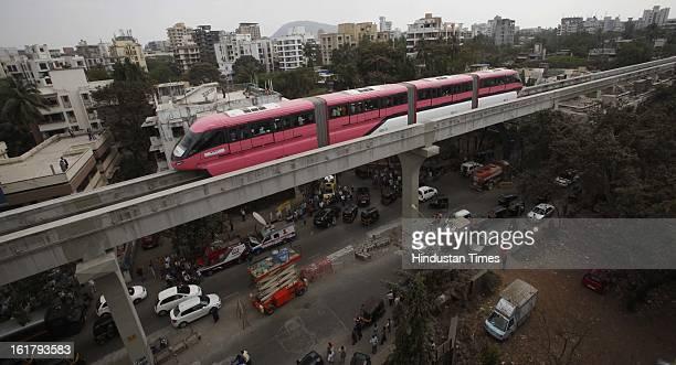 Mono Rail test drvie between Wadala and Chembur on February 16 2013 in Mumbai India The 1954 km long ChemburWadalaJacob Circle monorail project will...