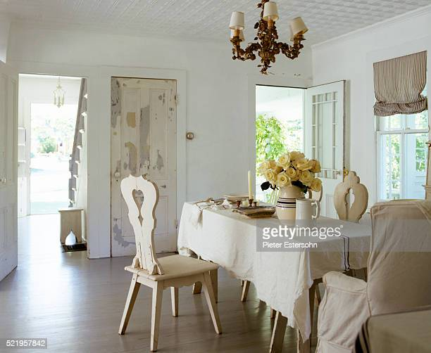 Monochromatic country dining room