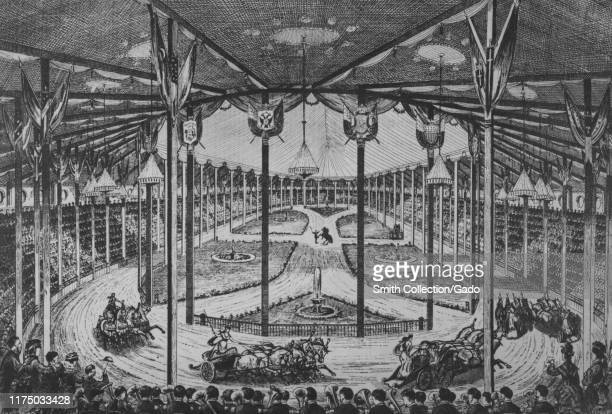 Monochrome illustration of the interior view of Phineas Taylor Barnum's Great Roman Hippodrome in Madison Square Garden, New York City, featuring...