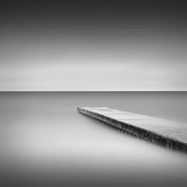 Monochrome long exposure jetty, Blyth UK