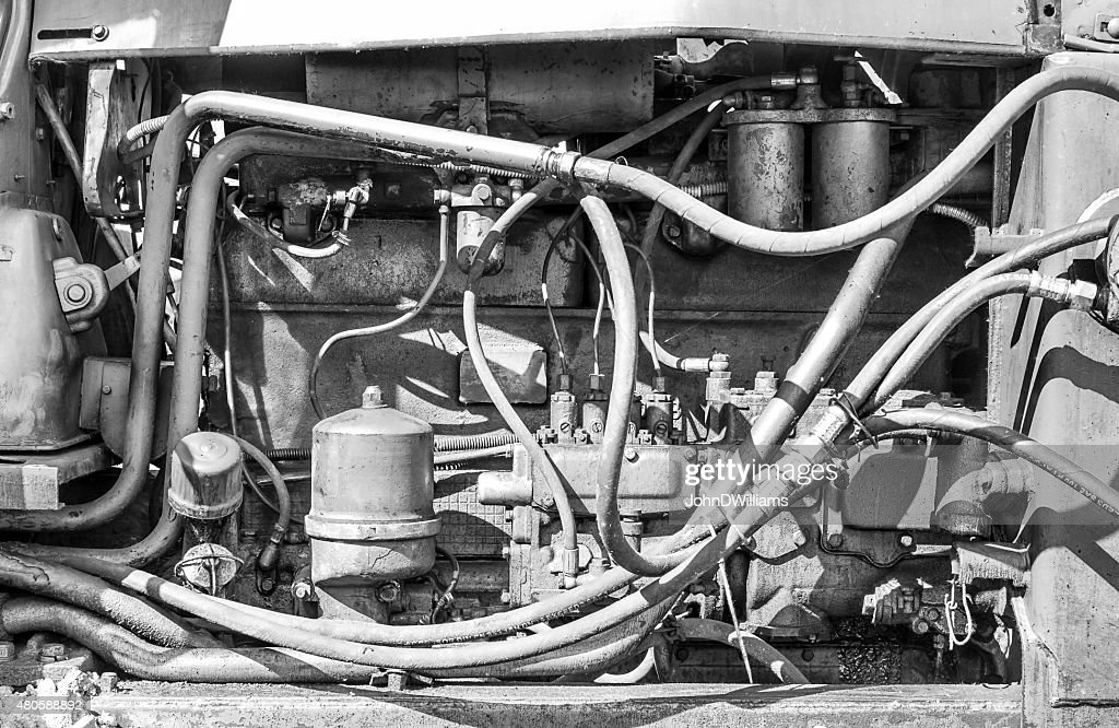 Monochrome of an Industrial Machines Engine Compartment : Stock Photo