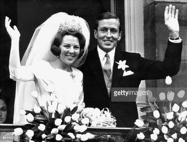 Monochrome photo dated 10 March 1966 of newlywed Beatrix of the Netherlands and Prince Claus in Amsterdam Prince Claus died aged 76 06 October 2002...