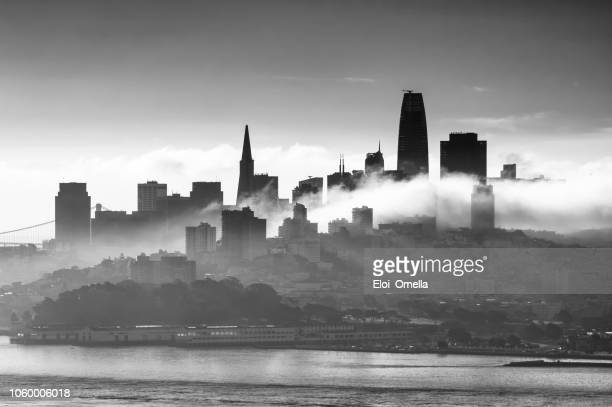 monochrome skyline of sanfrancisco with clouds. california. usa - san francisco california stock pictures, royalty-free photos & images