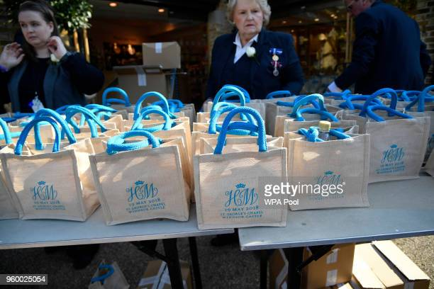 Monogrammed gift bags at Windsor Castle before the wedding of Prince Harry to Meghan Markle on May 19 2018 in Windsor England