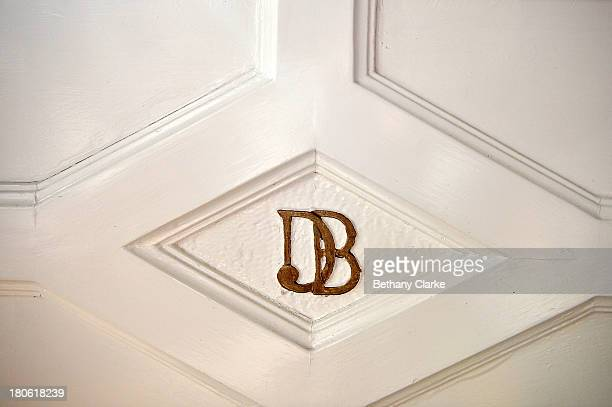 Monogrammed initials of Sir Dhunjibhoy are seen on the front door of Pineheath house on September 4 2013 in Harrogate England The untouched 40bedroom...