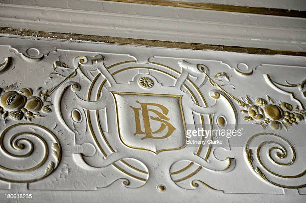 Monogrammed initials of Sir Dhunjibhoy on the interior walls in Pineheath house on September 4 2013 in Harrogate England The untouched 40bedroom...