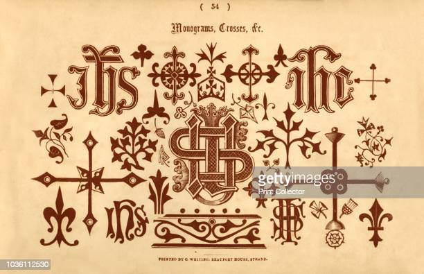 Monograms Crosses c' 1862 From The Book of Ornamental Alphabets Ancient Mediæval by F G Delamotte [E F Spon London 1862] Artist Unknown