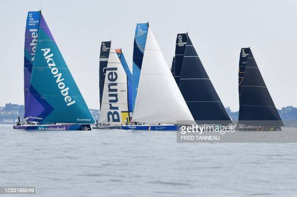 """Monohulls take the start of the """"Ocean Race Europe"""" sailing race in Lorient, western France on May 29, 2021."""